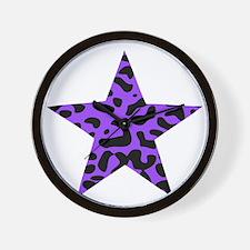 Leopard Star Purple Wall Clock
