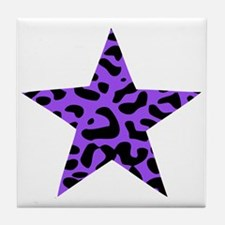 Leopard Star Purple Tile Coaster