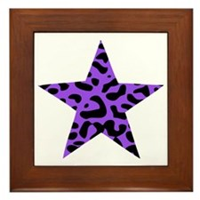 Leopard Star Purple Framed Tile