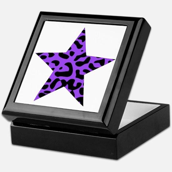 Leopard Star Purple Keepsake Box