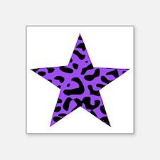 "Leopard Star Purple Square Sticker 3"" x 3"""