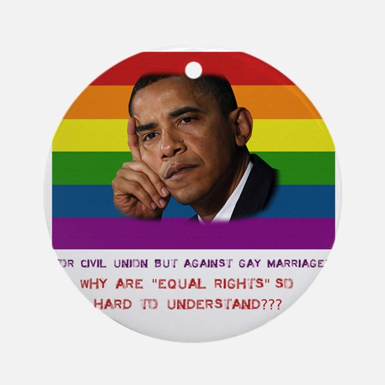 2-Obama rights Round Ornament