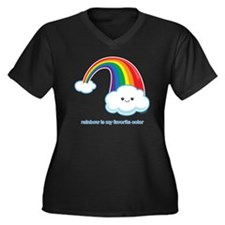 Rainbow Women's Plus Size Dark V-Neck T-Shirt