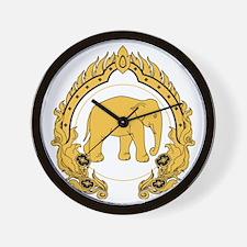 Thai-elephant-gold-black Wall Clock