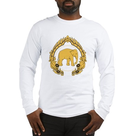 Thai-elephant-gold-black Long Sleeve T-Shirt