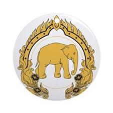 Thai-elephant-gold-black Round Ornament