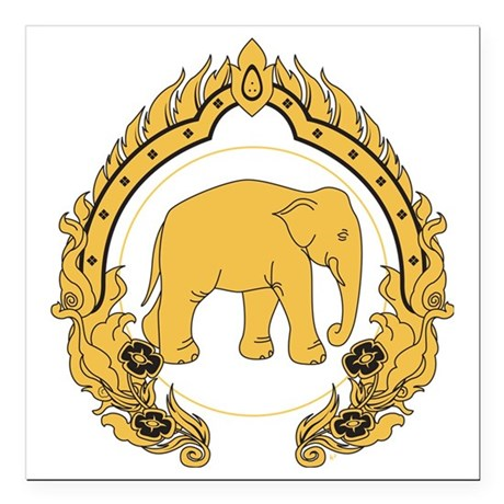 "Thai-elephant-gold-black Square Car Magnet 3"" x 3"""