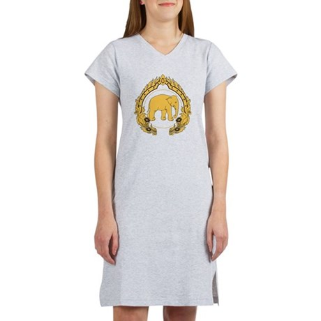 Thai-elephant-gold-black Women's Nightshirt