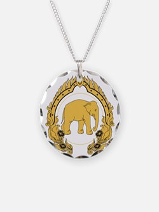 Thai-elephant-gold-black Necklace