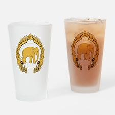 Thai-elephant-gold-black Drinking Glass