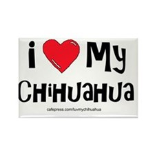 2-I love my chihuahua large Rectangle Magnet