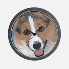 tri colored pembroke welsh corgi Wall Clock