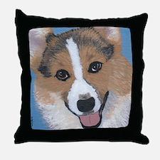tri colored pembroke welsh corgi Throw Pillow