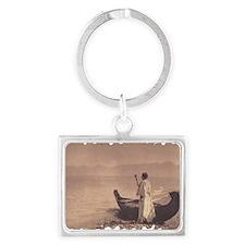 KutenaiWoman1910Curtis (framed  Landscape Keychain