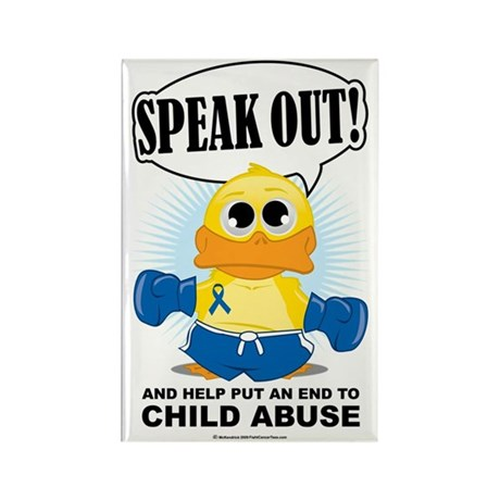 Boxing-Duck-Child-Abuse Rectangle Magnet