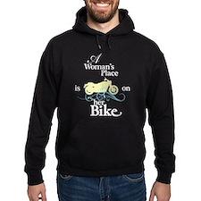 Womans Place, Bike Flourish, on black Hoodie