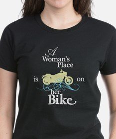 Womans Place, Bike Flourish, On Black T-Shirt