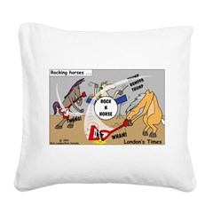 Rocking Horses Square Canvas Pillow