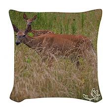 Whitetail Doe &Amp; Fawn Woven Throw Pillow