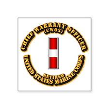 "USMC - CW3 - Retired Square Sticker 3"" x 3"""