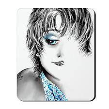 Blue lady button Mousepad