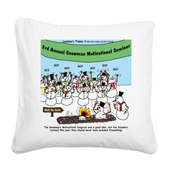 Snowman Seminar Square Canvas Pillow