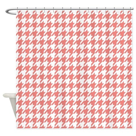 Cute Coral Pink White Houndstooth Shower Curtain By