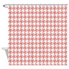 Cute Coral Pink White Houndstooth Shower Curtain