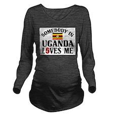 Somebody In Uganda Long Sleeve Maternity T-Shirt