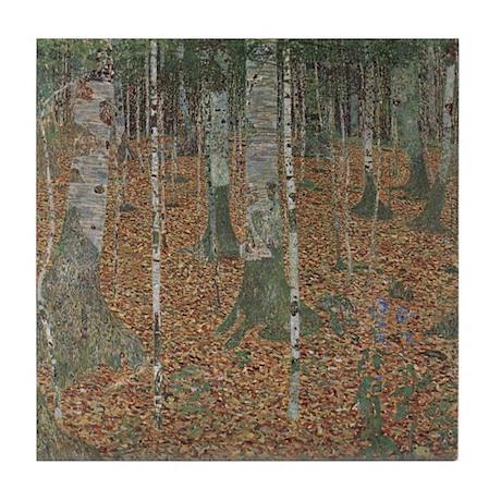 Klimt Art Deco Ceramic Tile Birch Tree Forest