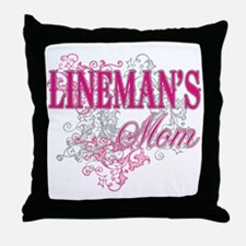 linemans mom_black_ Shirt Throw Pillow