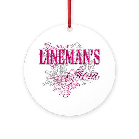 linemans mom_black_ Shirt Round Ornament