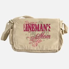 linemans mom black shirt with pole Messenger Bag