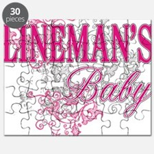 linemans baby black shirt with pole Puzzle