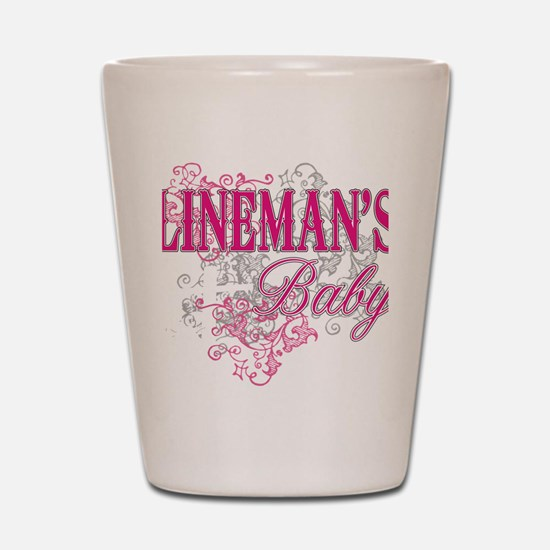 linemans baby black shirt with pole Shot Glass