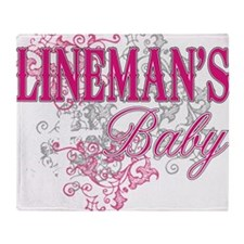 linemans baby black shirt with pole Throw Blanket