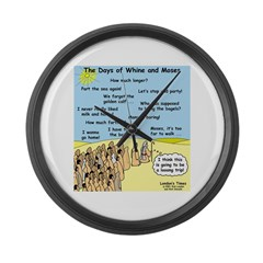 Days of Whine and Moses Large Wall Clock