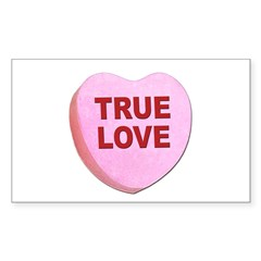True Love Candy Valentine Heart Sticker (Rectangul