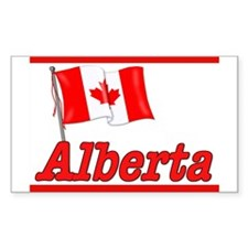 Canada Flag - Alberta Text Rectangle Decal