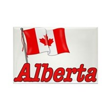 Canada Flag - Alberta Text Rectangle Magnet