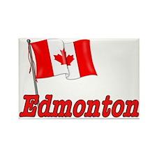 Canada Flag - Edmonton Text Rectangle Magnet