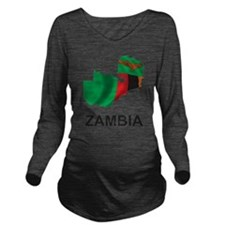 Map Of Zambia Long Sleeve Maternity T-Shirt