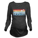 Retro Palm Tree Zambia Long Sleeve Maternity T-Shi