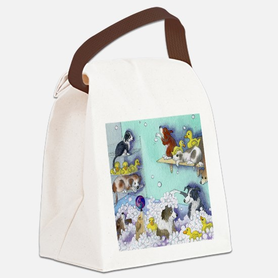 bubble bath sq Canvas Lunch Bag