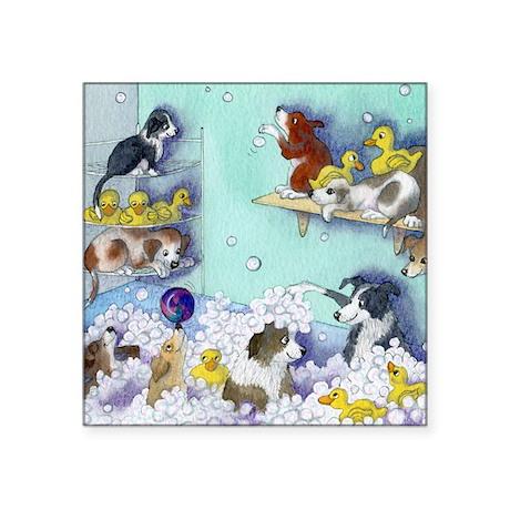 """bubble bath sq Square Sticker 3"""" x 3"""""""