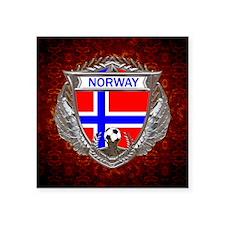 "Norway Soccer Keepsake Box Square Sticker 3"" x 3"""