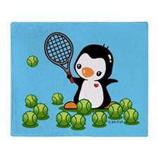 Tennis Penguin Throw Blanket