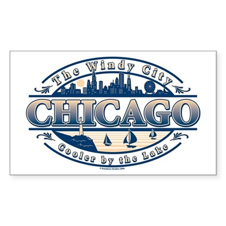 Chicago Oval Rectangle Sticker