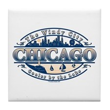 Chicago Oval Tile Coaster