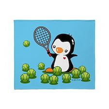 Tennis Penguins Throw Blanket